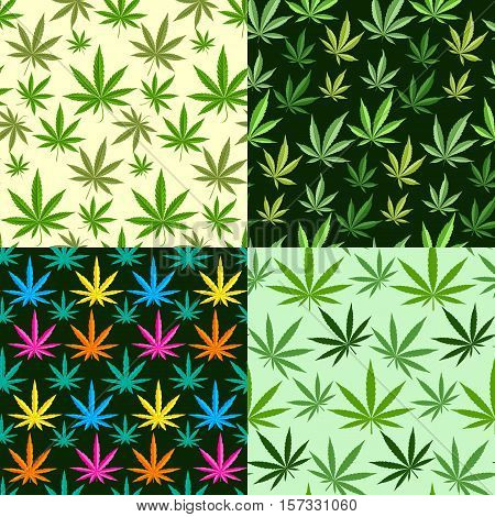 Green marijuana background  illustration. set marijuana background leaf pattern repeat seamless repeats. Marijuana leaf background herb narcotic textile pattern. Different  patterns.