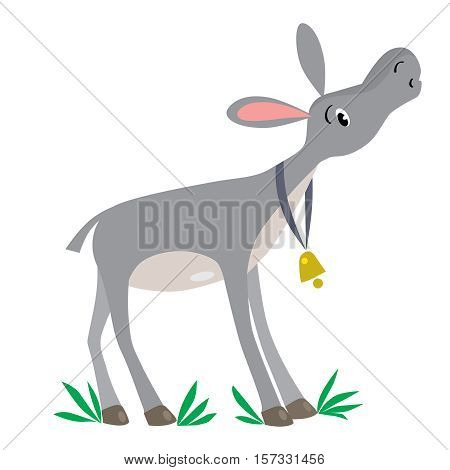 Children vector illustration of funny gray donkey with golden bell on blue stripe on his neck