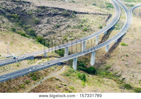 Aerial view to new highway bridge near Saint Paul on Reunion Island, France.