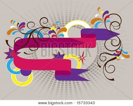 Banner with colored arrows and decor. Banner. Background.