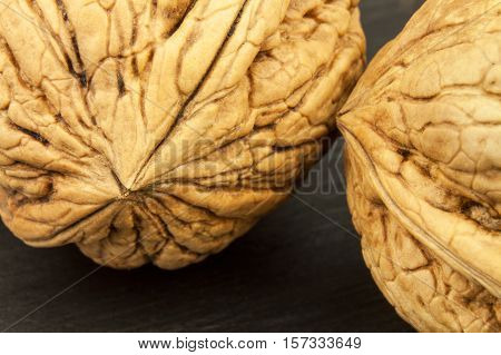 Detailed view of the structure of the shell of a walnut. Super foods for human brain. Healthy walnuts. Fresh walnuts