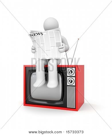 Man readng a newspaper sitting on TV