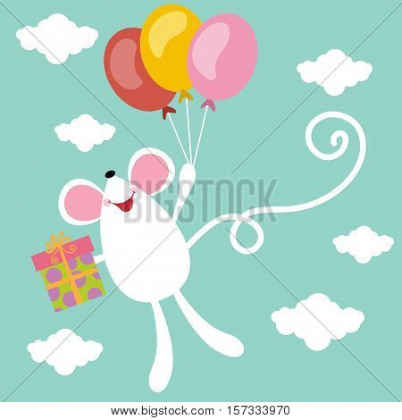 Scalable vectorial image representing a Birthday card with cute mouse, isolated on white.