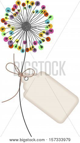 Scalable vectorial image representing a dandelion with tag label, isolated on white.