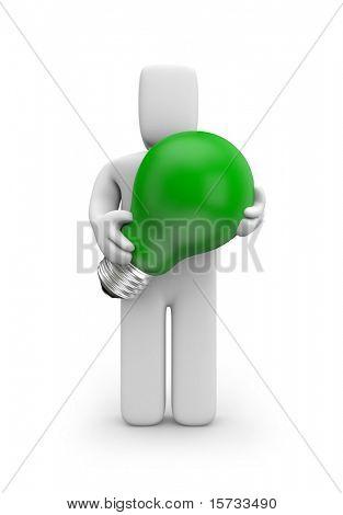 Person hold green lightbulb