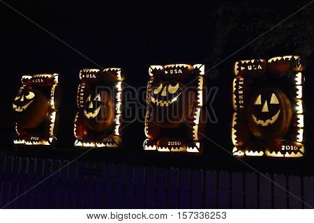CROTON-ON-HUDSON, NEW YORK - OCT 16: The Great Jack O'Lantern Blaze in Croton-on-Hudson in New York, as seen on Oct 16, 2016. It is is a fall spectacle integrating thousands of hand-carved jack o'lanterns.