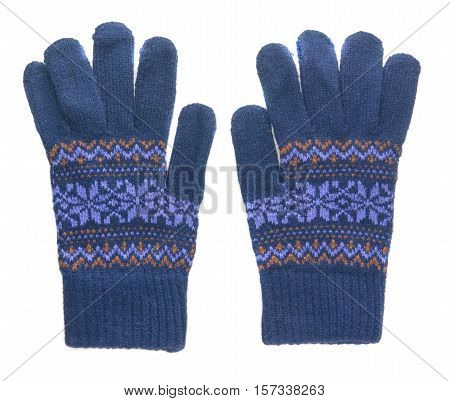 Knitted Gloves. Gloves Isolated On White Background. Gloves A Top View.blue Gloves