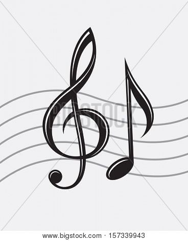 Illustration of treble clef and note. Vector image