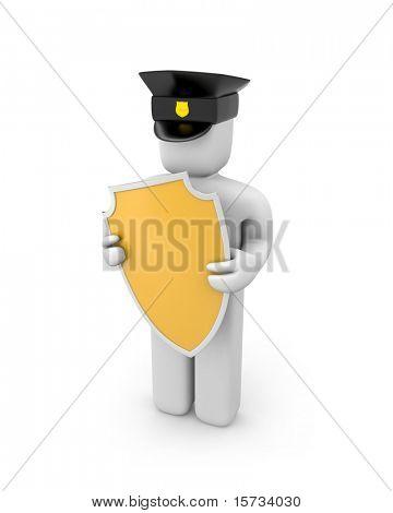 Policeman hold shield