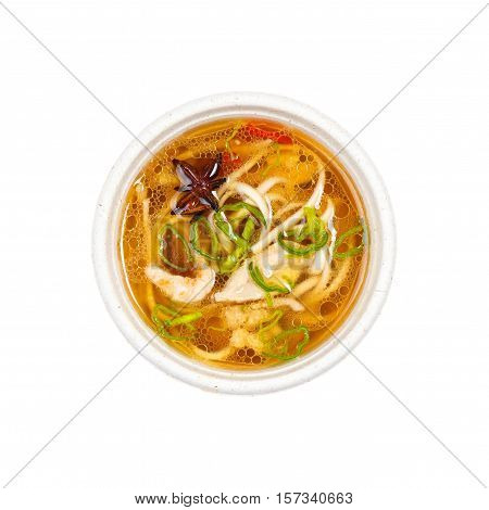traditional japanese soup udon isolated on white background. Top view.