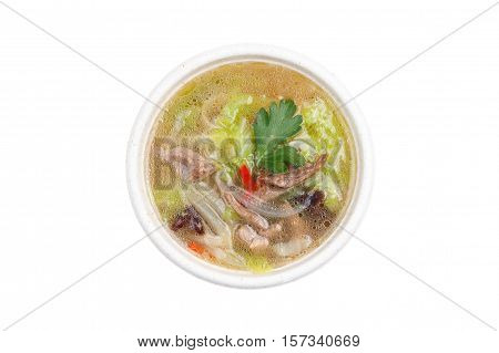 traditional japanese soup udon isolated on white background