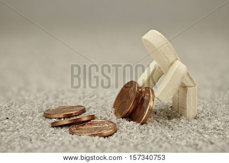 Poor wooden male turn every cent twice