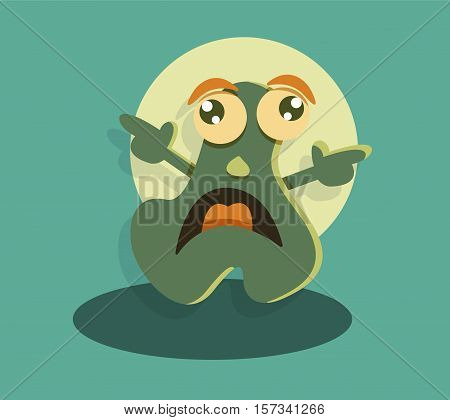 Funny cute monster drawing. Screaming cartoon character. Fantasy scared beast. Vector illustration.