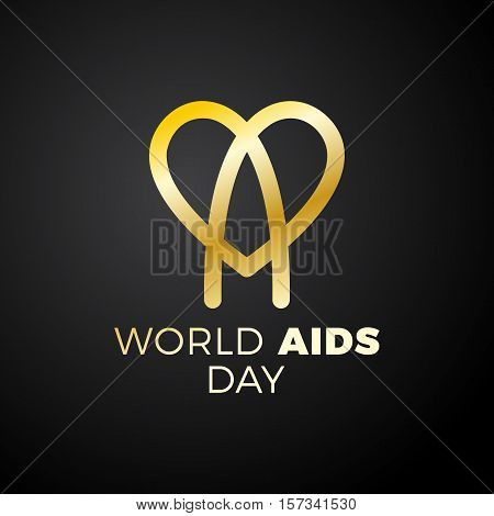 World Aids Day. Aids Awareness, Red Ribbon In Heart. World Aids Day - 1 December. Hiv Sti. Logo Vect