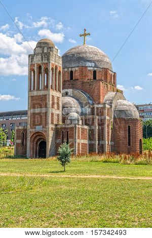 PRISTINA, KOSOVO - JULY 01, 2015: The Christ the Saviour Cathedral is an unfinished Serbian Orthodox Christian church, construction was interrupted by the Kosovo War.