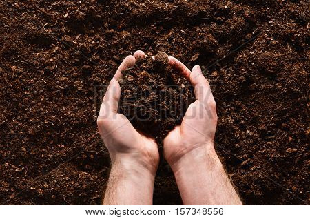 Fertile soil texture background seen from above, top view. Gardening or planting concept. Man's hand planting or seeding