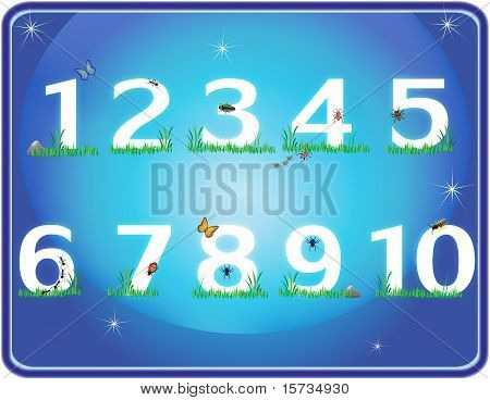 Grass Numbers In Blue Night Sky