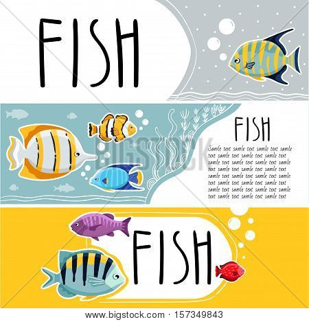 Colorful coral reef tropical fish horizontal flyers vector illustration. Sea fish concept.