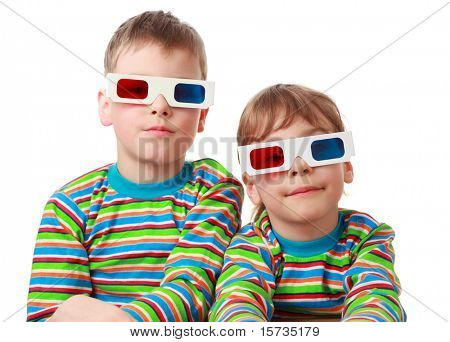 little brother and sister in striped shirt and anaglyph glasses, focus on girl