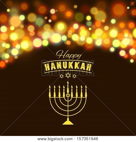 Vector illustration of Hanukkah background with menorah and lights. Happy Hanukkah background. Elegant greeting card.
