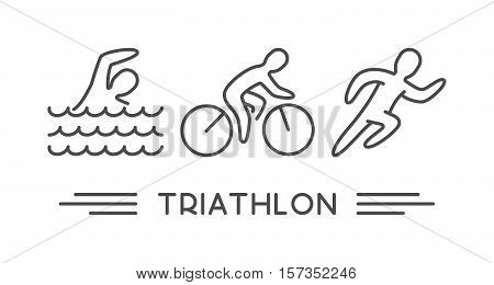 Vector line logo triathlon. Figures triathletes on white background. Swimming cycling and running symbol.