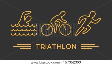 Vector line logo triathlon. Figures triathletes on black background. Swimming, cycling and running symbol.