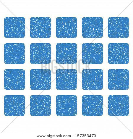 Square Grid grainy textured icon for overlay watermark stamps. Flat symbol with dirty texture. Dotted vector cobalt ink rubber seal stamp with grunge design on a white background.