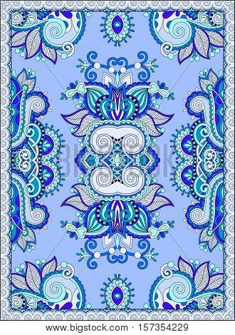 ukrainian floral carpet design for print on canvas or paper, ornamental pattern, vector illustration