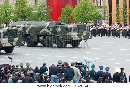 MOSCOW - 6 MAY: Iskander - Tactical ballistic missile. Dress rehearsal of Military Parade on 65th anniversary of Victory in Great Patriotic War on May 6, 2010 on Red Square in Moscow, Russia