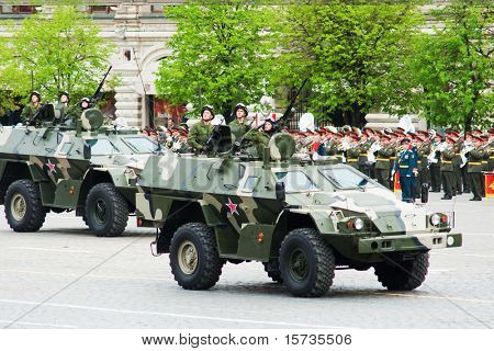 MOSCOW - 6 MAY: Patrol car. Dress rehearsal of Military Parade on 65th anniversary of Victory in Great Patriotic War on May 6, 2010 on Red Square in Moscow, Russia