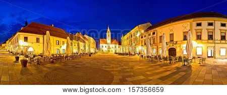 Town of Varazdin central square panorama baroque town in northern Croatia