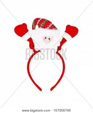 santa headband isolated on white background, christmas.