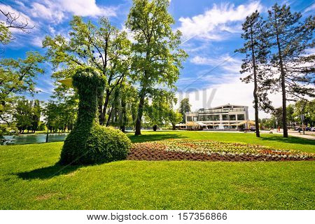 Town of Karlovac green park and landscape view northern Croatia