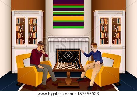 A vector illustration of Two Men Playing Chess in the Living Room