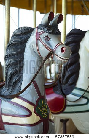 Vintage grey horse with black mane in a carousel