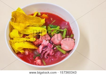 Rice Noodles Seafood   With  Fish Ball In Red Soup (yen Ta Fo)