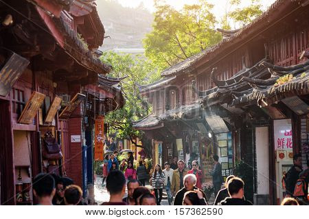 Amazing View Of Wooden Facades Of Traditional Chinese Houses