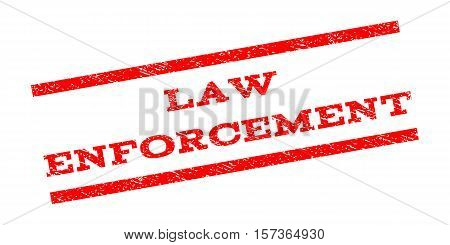 Law Enforcement watermark stamp. Text caption between parallel lines with grunge design style. Rubber seal stamp with scratched texture. Vector red color ink imprint on a white background.