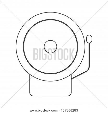 contour silhouette with fire alarm vector illustration