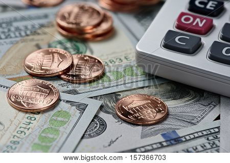 Money And Calculator. Financial Background