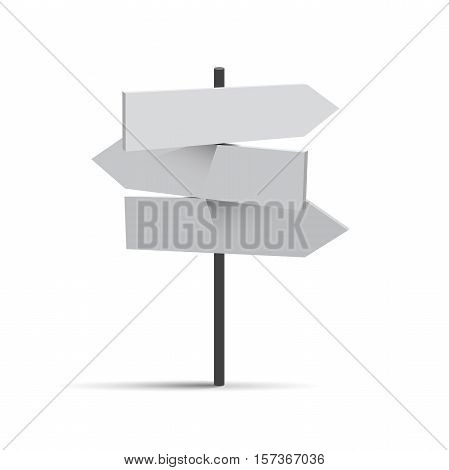Vector three white road signs travel destinations