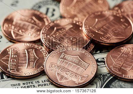 Macro Of One Cent Coins