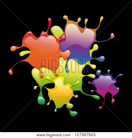Colored varnish splashes in abstract shape on black