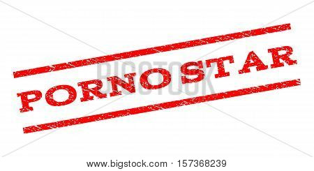 Porno Star watermark stamp. Text tag between parallel lines with grunge design style. Rubber seal stamp with dirty texture. Vector red color ink imprint on a white background.