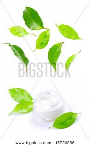 Facial cream - Close-up of a face cream with  green leafs on top