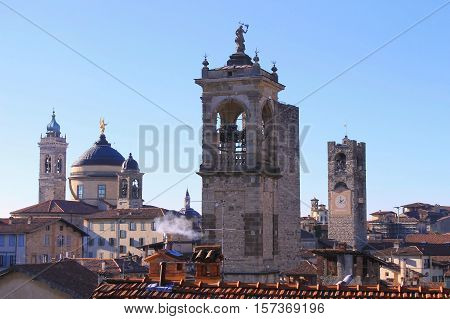 the bell tower of the city of Bergamo