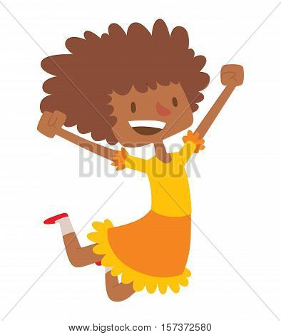 African american girl jumping very high and happy character vector. Afro beautiful and happy girl.