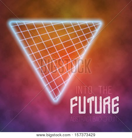 Illustration of Neon Poster Retro Disco Background. Into The Future Vector Poster. Abstract 1980s Style Background