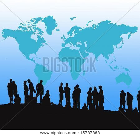 Global generation - silhouettes of people People doing different things in front of a world map.