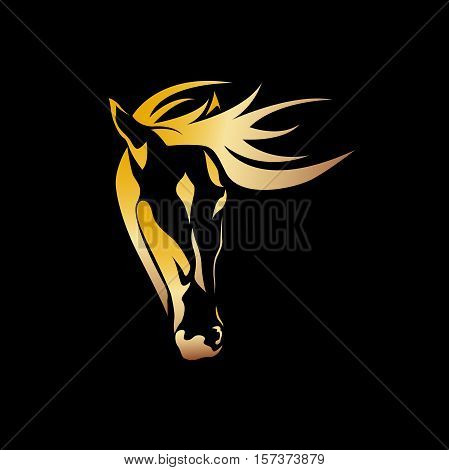 Vector abstract golden portrait of a horse black background